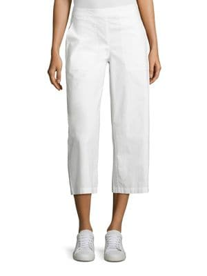 Poplin Wide Leg Cropped Pants