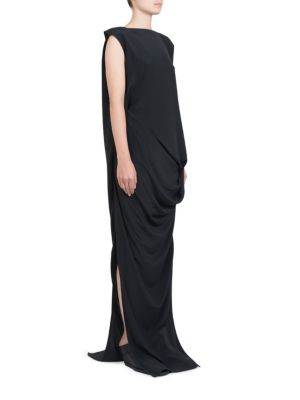 Silk-Blend Draped Gown