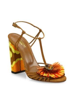 Samba Embellished Suede Block Heel Sandals