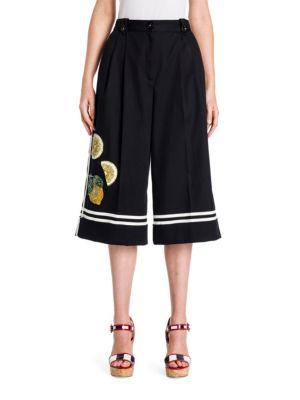 Lemon-Embellished Cotton Culottes