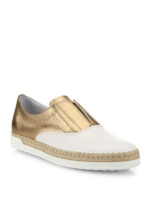 Leather Espadrille Slip-On Sneakers