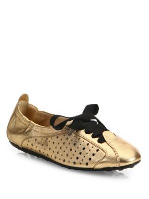 Metallic Leather Ballet Sneakers