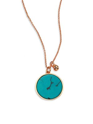 GINETTE NY Wise Ever Turquoise & 18K Rose Gold Pendant Necklace
