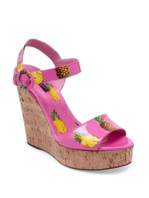 dolce gabbana female pineapple patent leather cork wedge sandals