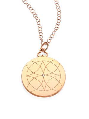 Lucky Diamond & 18K Rose Gold Locket Necklace