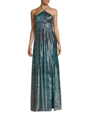 Deven Metallic Silk Gown