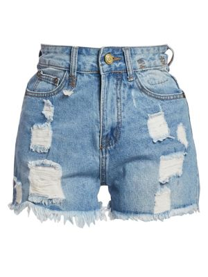Shredded Slouch Denim Shorts