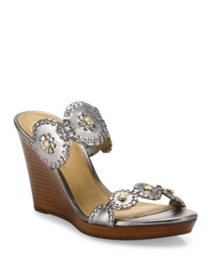 Jr Layne Whipstitch Metallic Leather Wedge Sandals