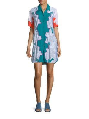 Surf Silk Floral Shirtdress