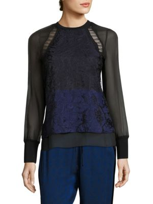 Colorblock Silk & Lace Top