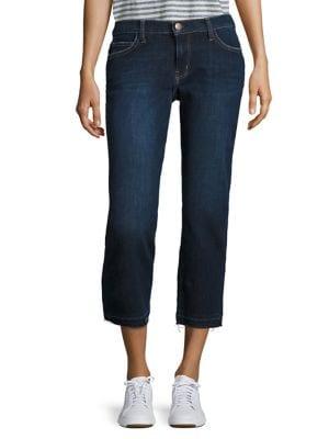 The Cropped Raw Hem Straight-Leg Jeans