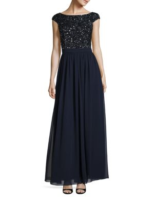 Embellished V-Back Gown