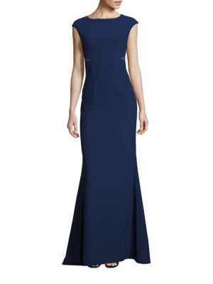 Lace Inset Crepe Gown