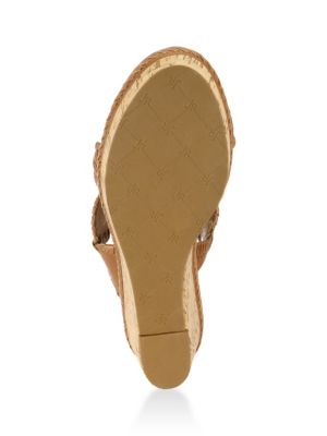 jack rogers female leigh metallic leather cork wedge sandals