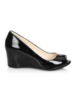 Sadie OT Patent Leather Peep Toe Wedge Pumps
