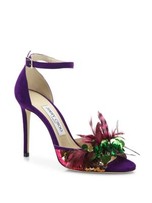 Annie Sequin & Feather-Embellished Suede Ankle-Strap Sandals