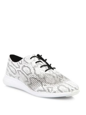 Zero Grand Snake-Print Leather Oxford Sneakers