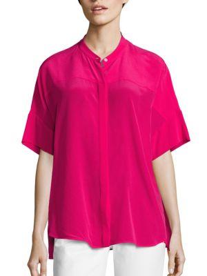 Silk Button Front Shirt