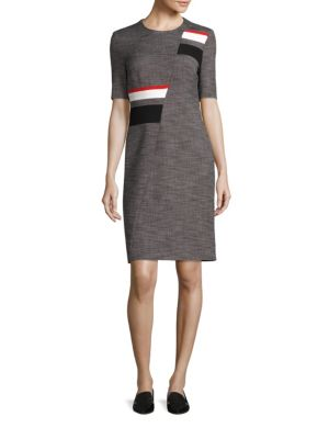 Dimyna Tweed Abstract Stripe Dress