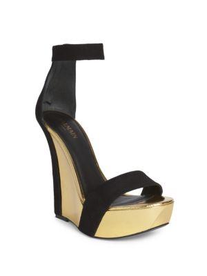 Suede Ankle-Strap Metallic Wedge Platform Sandals