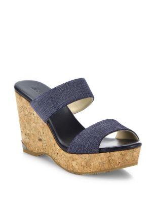 Parker Denim & Cork Wedge Sandals