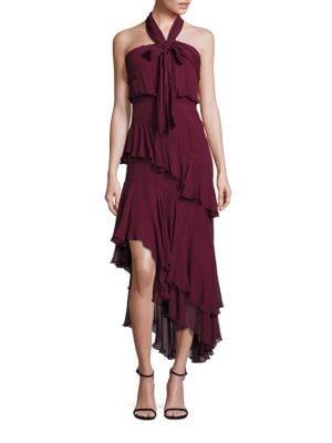 Valle Asymmetrical Silk Halter Dress