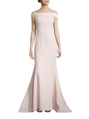 Textured Off-The-Shoulder Gown