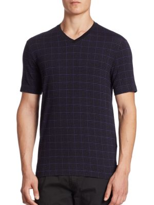 Checked V-Neck T-Shirt