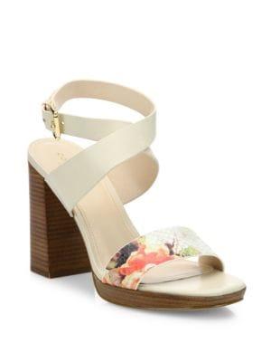 Fenley Leather Ankle-Wrap Block Heel Sandals