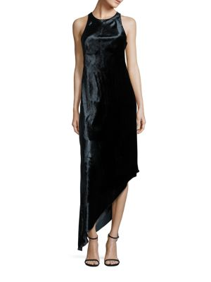 Velvet Asymmetrical Bias-Cut Dress