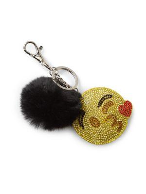 Kissy Emoji & Fox Fur Pom-Pom Keychain