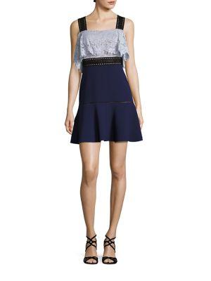 Lace & Crepe Fit-&-Flare Dress