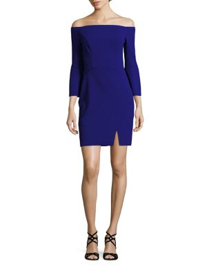 Scuba Off-The-Shoulder Sheath Dress