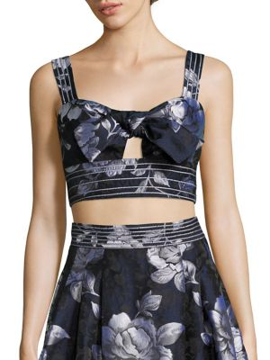 Tie-Front Cropped Bustier Top