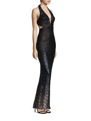 Ombre Sequin Halter Gown