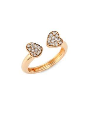 Hearts Diamond & 18K Rose Gold Open Ring