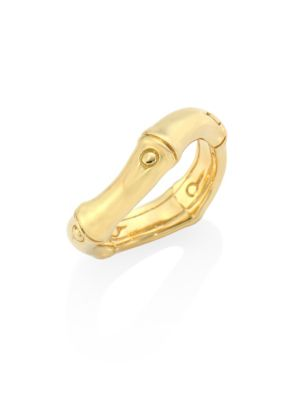 Bamboo 18K Yellow Gold Curved Band Ring