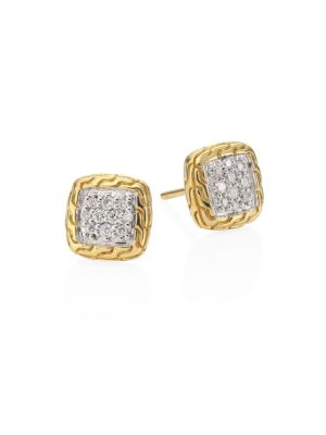Classic Chain Diamond & 18K Yellow Gold Stud Earrings