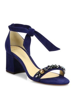 Clarita Jeweled Suede Block Heel Sandals