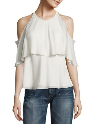 Silk Cold-Shoulder Blouse by Polo Ralph Lauren