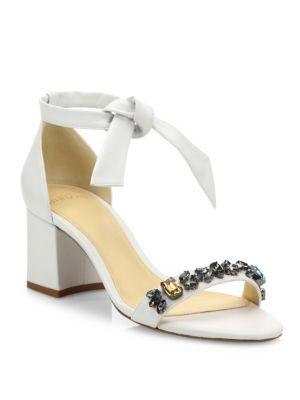 Clarita Jeweled Leather Block Heel Sandals