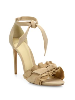 Lupita Ruffled Suede Ankle-Strap Sandals