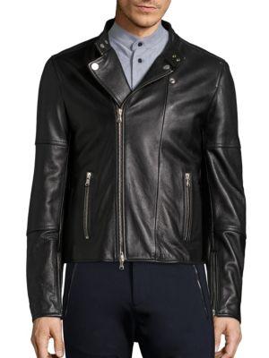 Long Sleeve Leather Moto Jacket