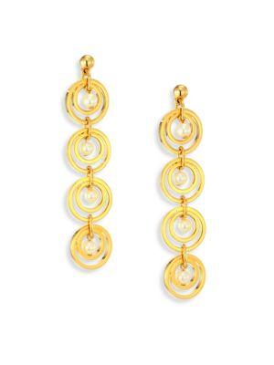 Tiered Hoop & Faux-Pearl Drop Earrings