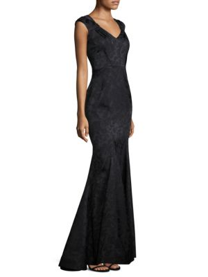 Floral Cap Sleeve Gown