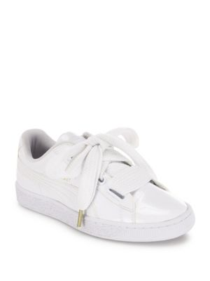 PUMA Basket Patent Leather Lace Up Sneakers