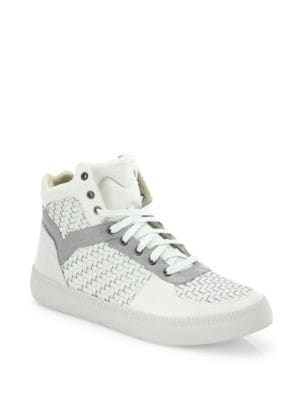 Spaark Woven Leather Mid-Top Sneakers