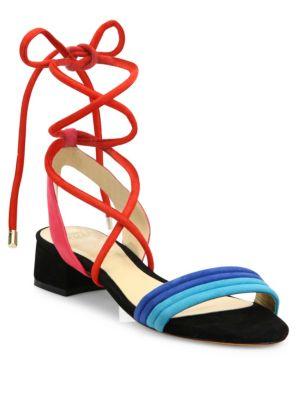 Aurora Colorblock Suede Lace-Up Sandals