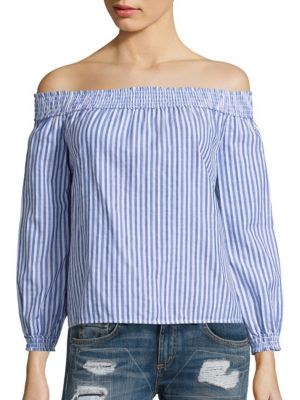 Drew Striped Cotton Off-The-Shoulder Top