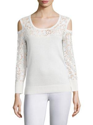 COLLECTION Lace Burnout Cold Shoulder Top